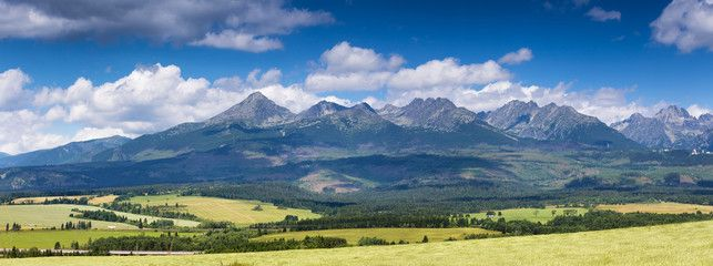 Summer panorama of Tatra mountains