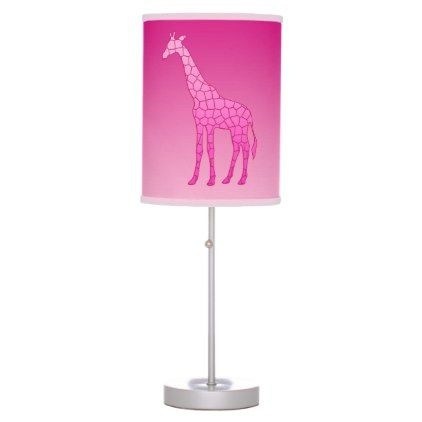 Modern Geometric Giraffe Fuchsia and Light Pink Table Lamp - light gifts template style unique special diy
