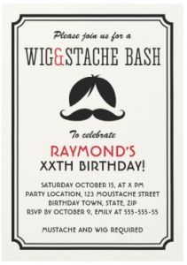 wig and mustache party invitations with retro stripes - Mustache Party Invitations