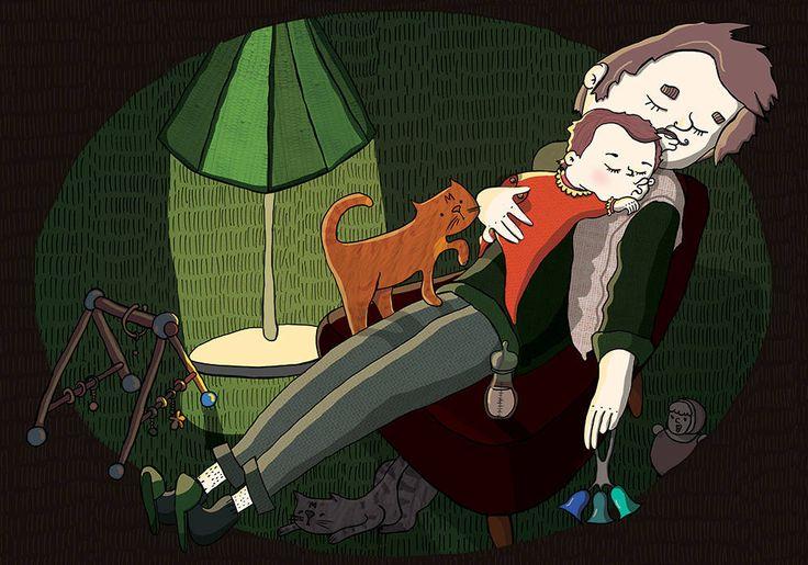 Papa and Baby are sleeping von ElisawetaSliwinska auf Etsy #Kunst & #Sammlerstücke  #Drucke  #Digitaldrucke  #Sliwinska  #digital  #print  #Art  #Dad  #baby  #sleep  #cat  #rattle #silence  #evening #parent #picture #frame #art #kunstdruck