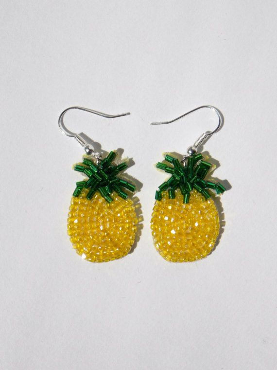 Boucles d'oreilles Ananas en perles Brodées 3 cm par 221Broderie