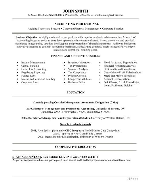 Entry Level Accounting Resume Examples | Resume Format 2017