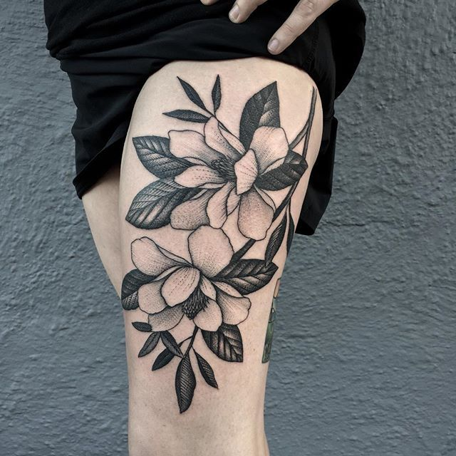Freehand magnolias for Katie. #magnolia #magnoliatattoo #tattoo #tattoos…