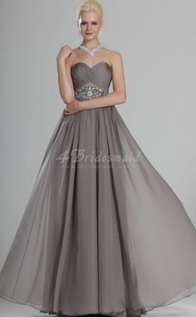 line Sweetheart Neck Long Silver bridesmaid dress....👗😊