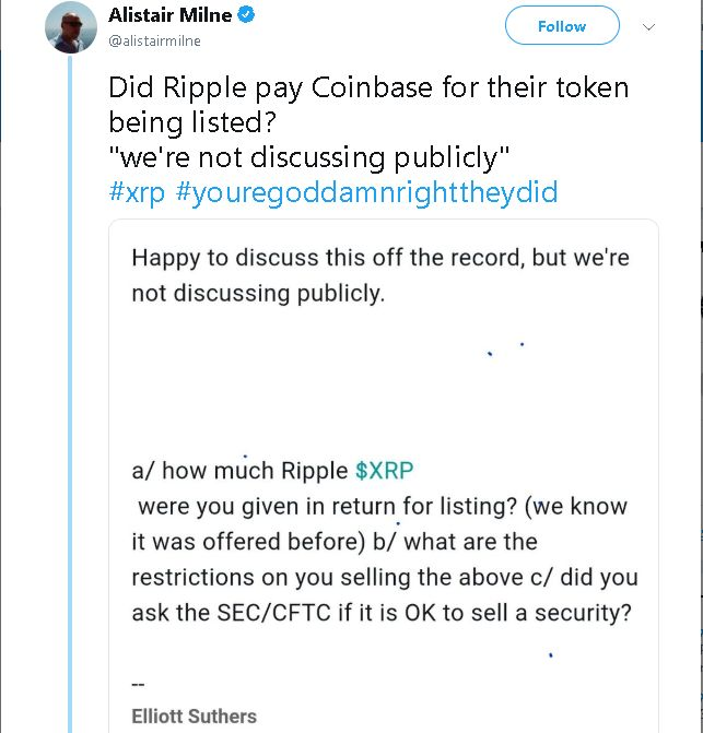 Ripple S Head Of Xrp Market Coinbase S Listing Of Xrp Was
