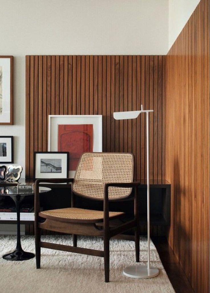 Mid Century Modern Wood Detail On Wall Mid Century Living Room Decor Mid Century Living Room Interior