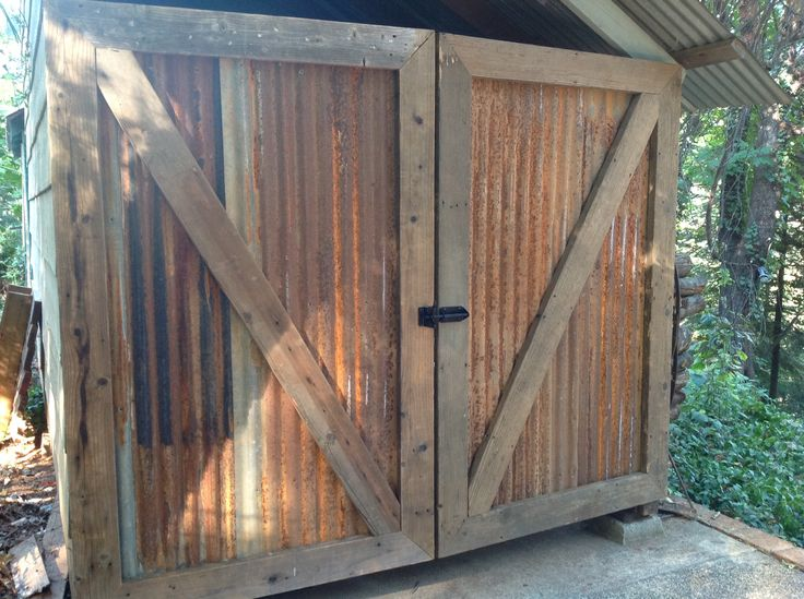 Shed Doors From Reclaimed Barn Wood And Galvanized Metal