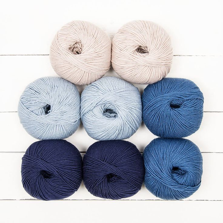 This color pack contains all the yarn you need to knit the August Baby Blanket by Brixton Purl. The following shades of MillaMia Naturally Soft Merino are included: Midnight (101), Mist (164), Tempest Blue (167), Fawn (160)