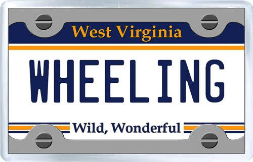 $3.29 - Acrylic Fridge Magnet: United States. License Plate of Wheeling West Virginia