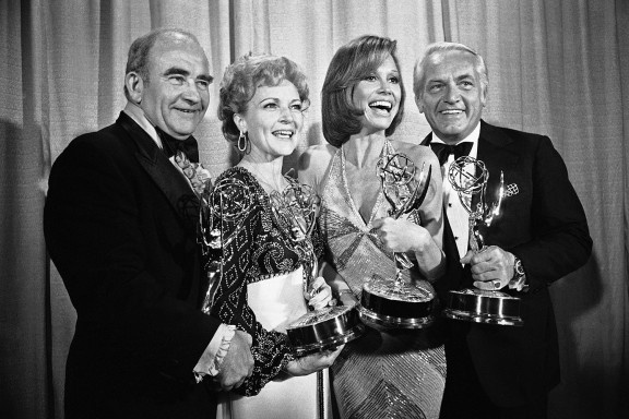 1976    EMMY for MTM show  ed asner, betty white, mary tyler moore,ted knight   ( when i was 16 i delivered  avon to mtm @ her house in encino, she was covered in freckles, surprised me )