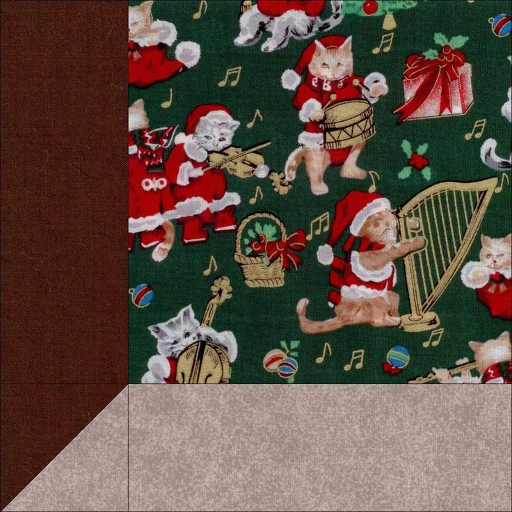 "Christmas Cats and Music 12 Pre-Cut Quilt Kit 8"" Blocks SALE"