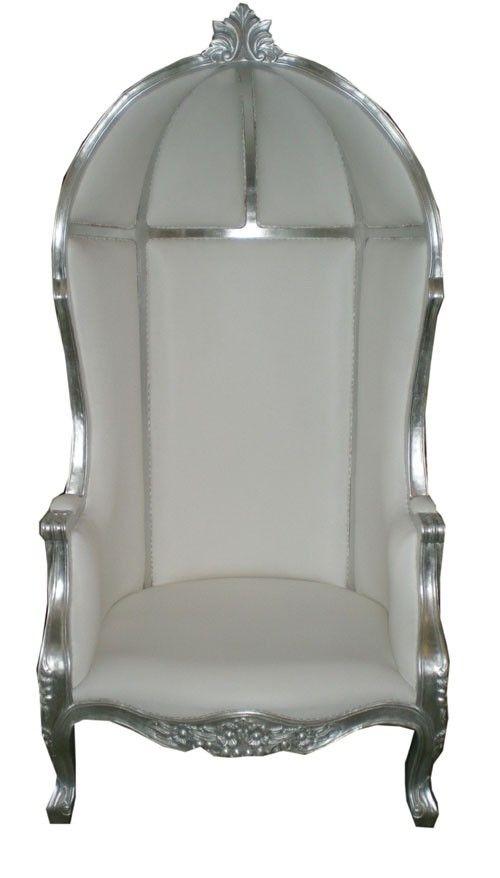 """Fauteuil royal de luxe """"carrosse de mariage"""" en argent et simili blanc croco #meuble #décoration #mariage."""