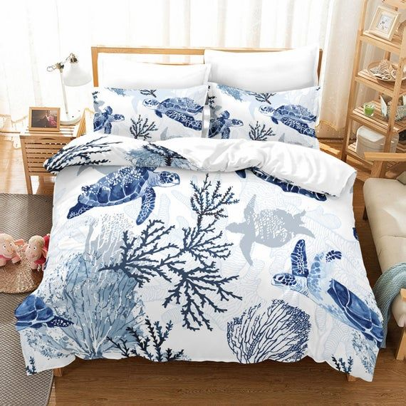 Seaworld Turtles Duvet Cover Set Fresh Seaweed Quilt Cover Pillowcase 3d Digital Printing Anti Wrinkle Bedding Sets Soft Home Decor Bedding Sets Cheap Bedding Sets Twin Bed Sets