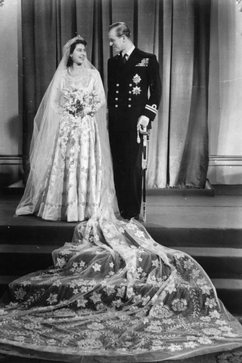Princess Elizabeth, and Prince Mountbatten were married in 1947 at Westminister Abbey in London, her wedding dress designed by Norman Hartnell.