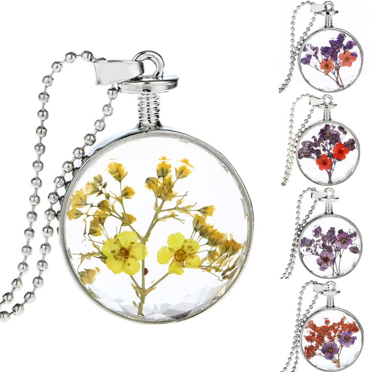 Vintage Handmade Jewlery Silver Plated with Glass Dried Pressed Flower Shaped Choker Long Necklace for Women Wedding
