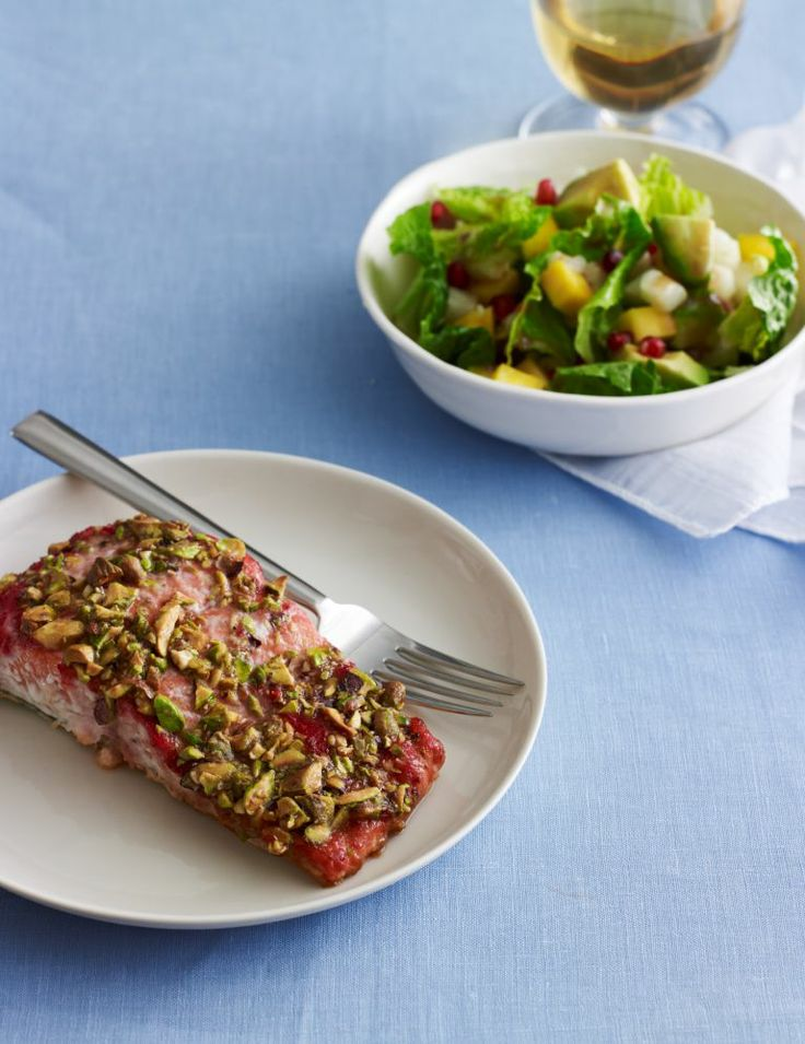 Pistachio Salmon and a Flavorful Salad: Pesach Recipes, Kosher Foods Drinks, Seafood Recipes, Pomegranate, Pescaterian Favorites, Pistachio Salmon, Healthy Recipes, Favorite Recipes, Paleo Recipes