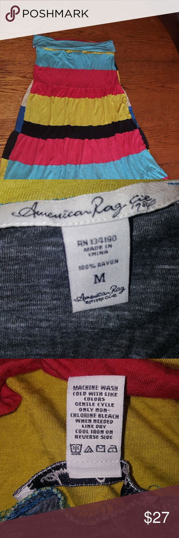 American Rag strapless dress SZ medium Trendy & comfortable  striped multicolor  strapless dress  GUC  Super fast shipping  T2-2 American Rag Dresses Strapless