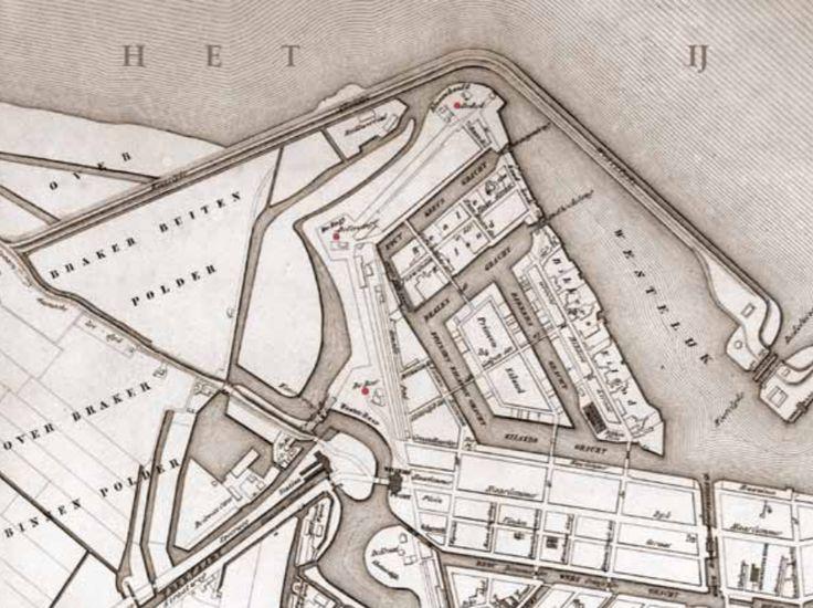 Amsterdam, De schans en de bolwerken buiten de Willemspoort met de Westerdoksdijk van 1832, de nieuwe Haarlemmerpoort van 1840 en het HIJSM spoorwegstation Willemspoort van 1843. Detail uit de stadskaart van H.P.Eskes uit 1842