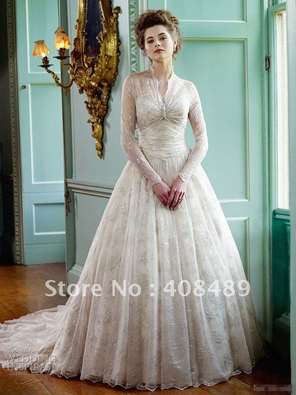 stunning long sleeve lace arabic popular design wedding dress,