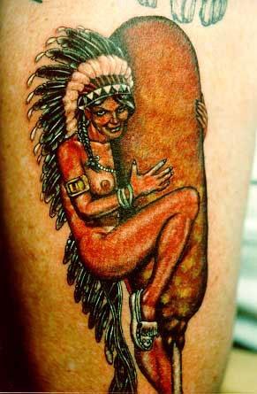 An indian girl riding a corn dog???? WTF: Tattoo Ideas, Horrible Tattoo, Bad Tattoo, Corndog, Corn Dogs, Indian Princesses, Naked Indian, Worst Tattoo, Dogs Tattoo