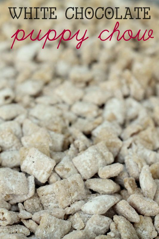 White Chocolate Puppy Chow (Muddy Buddies) recipe on { lilluna.com } My new FAV! (Caramel Chex Mix)