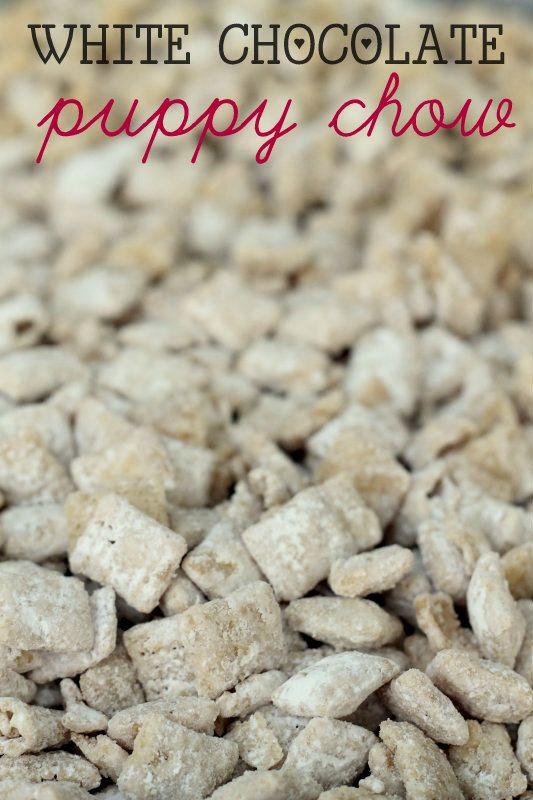 White Chocolate Puppy Chow (Muddy Buddies) recipe on { lilluna.com } My new FAV!