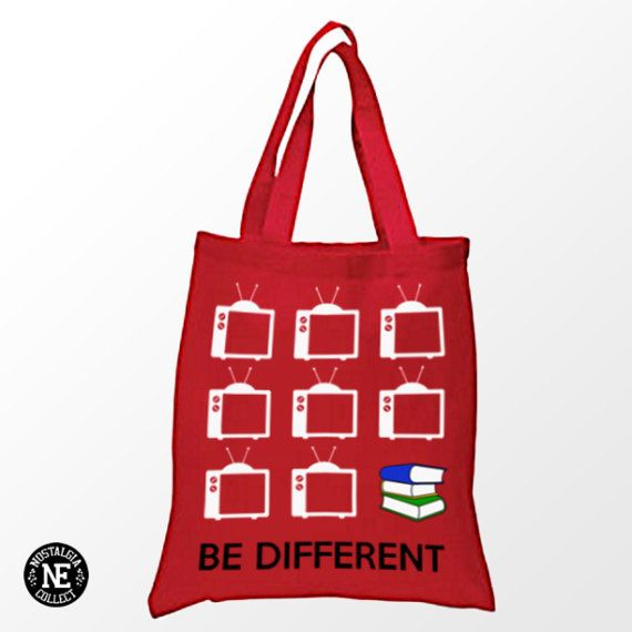 Be Different Tote Bag  Red Tote Bag  Read by NostalgiaCollect