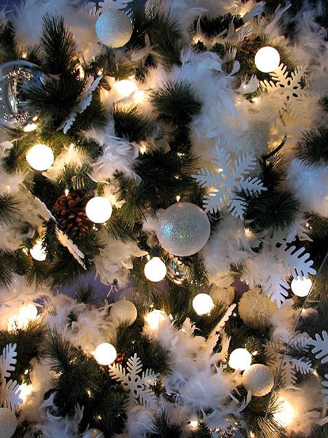 Christmas baubles decorations white