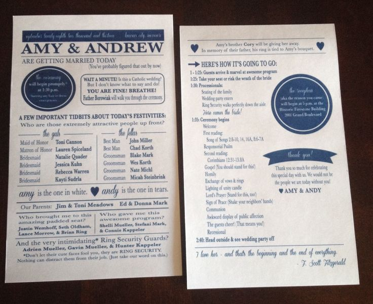 Unique and funny wedding programs. Love these!