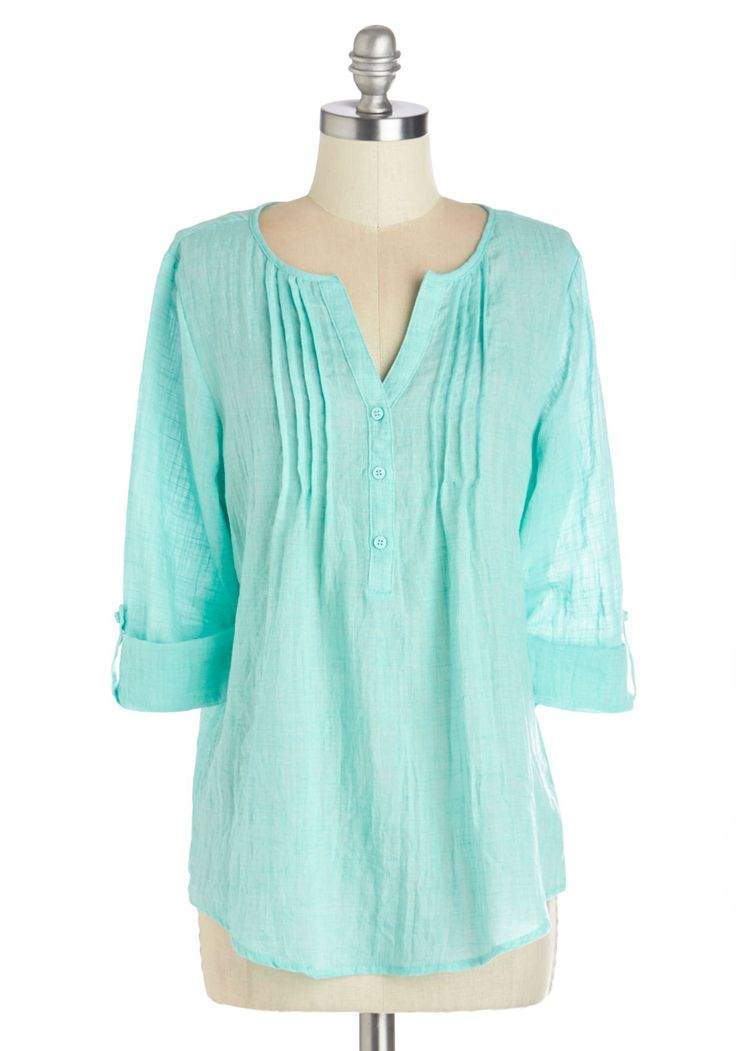 Beach Bliss Top. As peaceful as the cool winds off of the sea, this bright aqua top is the perfect way to refresh your spirit and your wardrobe! #blue #modcloth