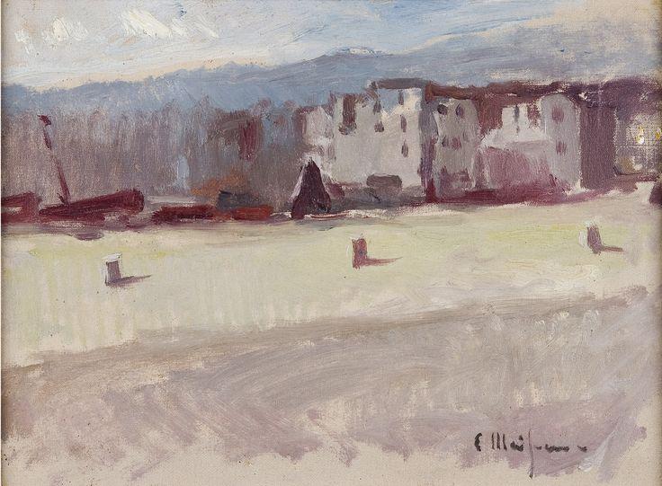 Eliseo Meifrén Roig. Platja Gran, Cadaqués, Girona. Óleo sobre lienzo. Firmado. 24,5 x 33,5 cm. Colección particular. Ciro ediciones, 105.