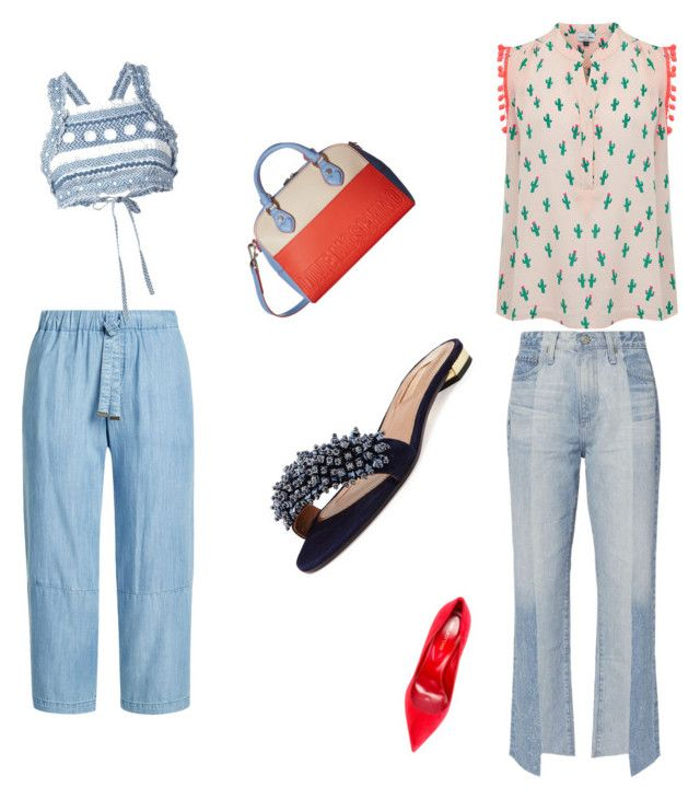 Untitled #7 by maralucinha on Polyvore featuring polyvore fashion style Mercy Delta Dodo Bar Or AG Adriano Goldschmied Steffen Schraut Sergio Rossi Aquazzura Love Moschino clothing