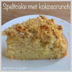 Gezond leven van Jacoline: Fluweelzachte speltcake met kokoscrunch