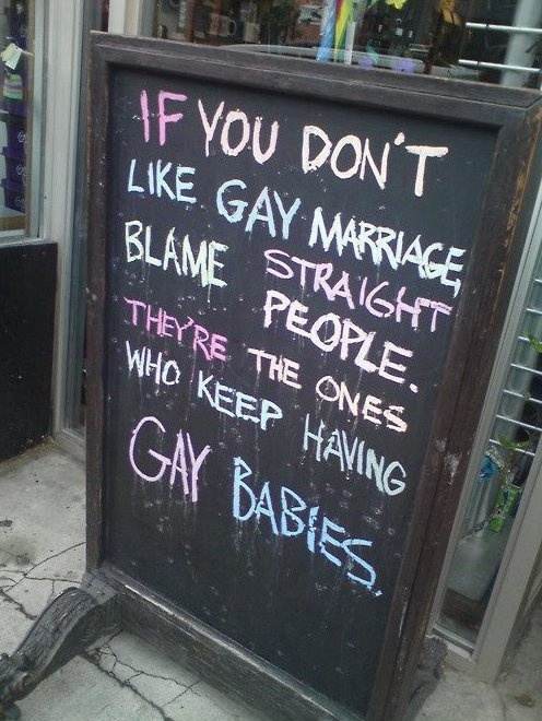 Gay marriage quote  How true!  :)...I never thought of it like that, but how true!!!...respect all people...