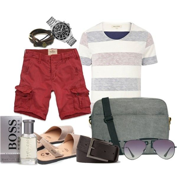 """Cargo Shorts & Stripes T-Shirt"" by marta-cercols on Polyvore"