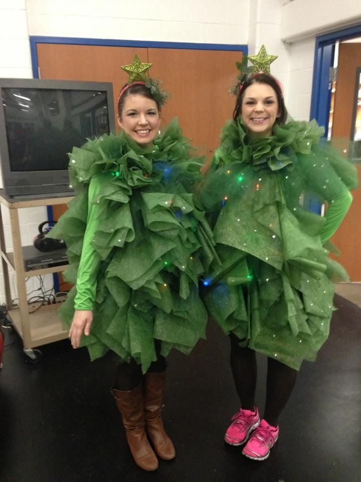 Tulle/ mesh pine tree costume. I like the volume of each costume. Not sure about danceability