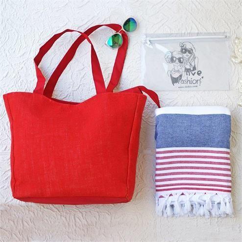 Kırmızı Lacivert Plaj Seti - Ebat: Plaj Çantası 35x50 cm Peştemal 100x180 cm Bikini Çantası  20x30 cm Renk: Plaj Çantası Keten KIrmızı  Peştemal Kırmızı&Lacivert Çizgili
