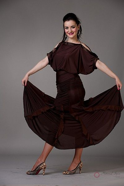 Natural Spin Signature Ballroom Skirt:  BS23_BROWN