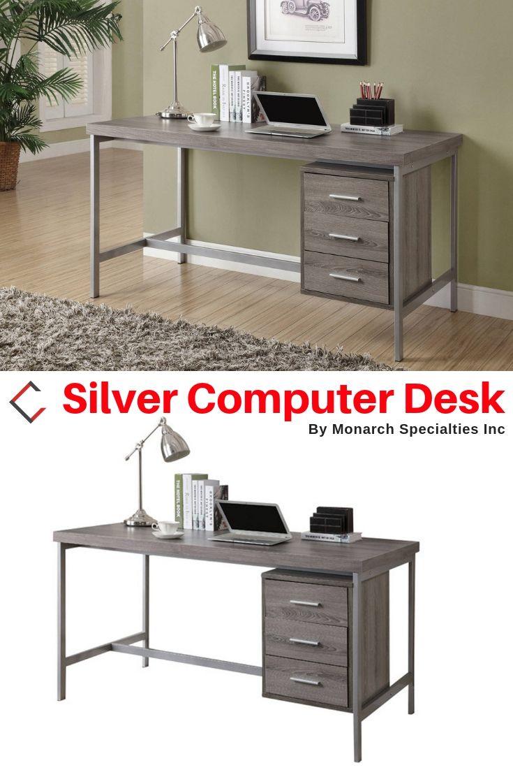Monarch Specialties Taupe Mdf Silver Computer Desk Desk Monarch