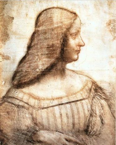 레오나르도 다빈치- ISABELLA D'ESTE   이사벨라 데스테는 페라라 백작의 딸이자 이탈리아 만투아의 후작부인으로 르네상스 최고 거장들의 작품에 자주 등장하는 여인이다. 그녀는 르네상스 시기 최고로 교양있는 여성이자, 미술, 음악, 다른 문화예술의 후원자, 정치적 외교력을 가진 여성이다. 중세를 벗어나 휴머니즘을 추구한 르네상스가 도래하였지만 여전히 남성 후원자 남성 미술가가 지배했던 당시 이사벨라 데스테의 존재는 독특해 보인다.