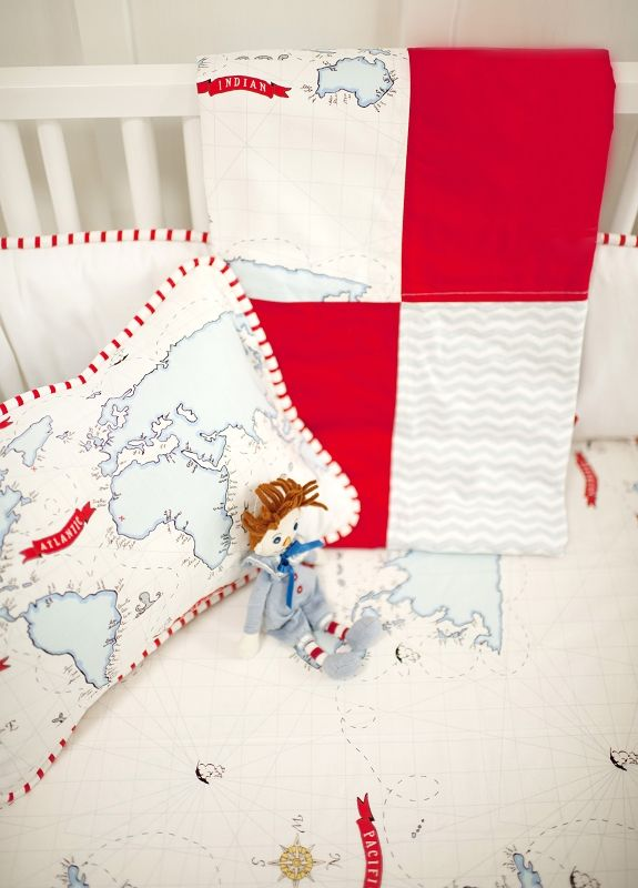 Out to Sea in Blue Baby Bedding. Such cute bedding... Great for an eclectic nursery
