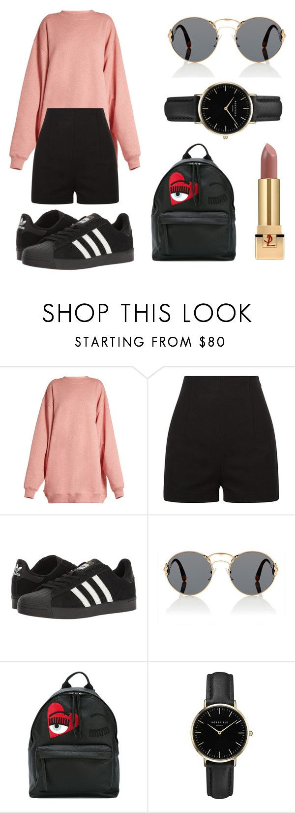 """Untitled #338"" by fashion-with-dudette on Polyvore featuring Acne Studios, adidas, Prada, Chiara Ferragni, ROSEFIELD and Yves Saint Laurent"