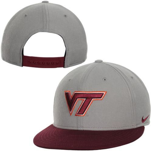 quality design 1dfa3 1f557 ... norway nike virginia tech hokies team issue true snapback hat gray  maroon cool vt hokies fan