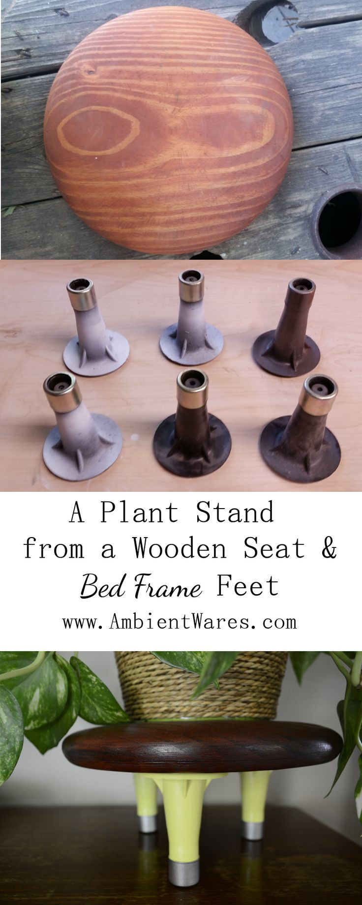 Old bed frame feet have a little bit of a mid-century vibe goin' on, don't they? These were added to a wooden seat to make a plant stand! For this and more unique project ideas, visit AmbientWares.com #diyplantstand #midcenturyplantstant