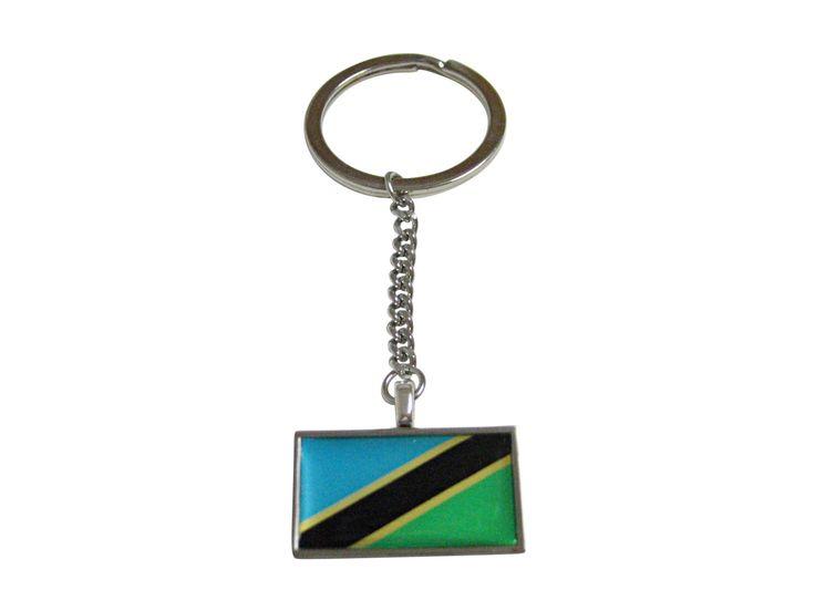 Thin Bordered Tanzania Flag Pendant Keychain
