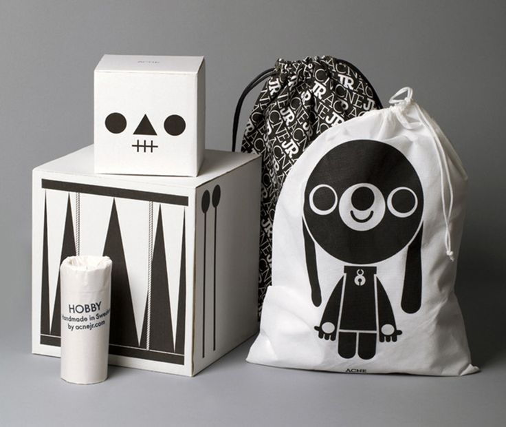 Great packaging for Acne Jr., traditional children's toys with a modern twist.
