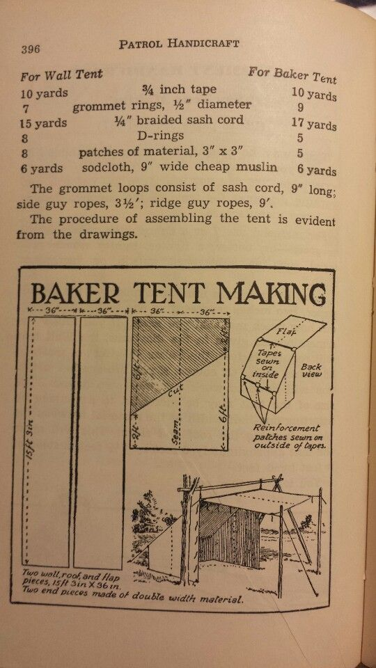 Baker tent making handbook for patrol leaders 1949 for Canvas tent plans