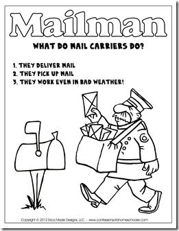FREE printable unit on mail carriers. Includes a blank envelope to address, mailbox craft, mail carrier hat craft, coloring pictures, poem to memorize, letter writing template, stamp memory game.