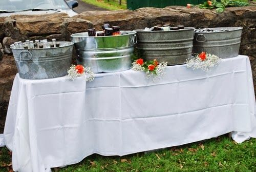 Great casual bar set-up for beer at a rustic wedding #graemepark #fallweddings