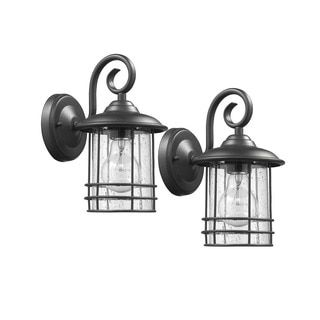 Shop for Chloe Transitional 1-light Textured Black Outdoor Wall Lantern 2-pack. Get free delivery at Overstock.com - Your Online Garden